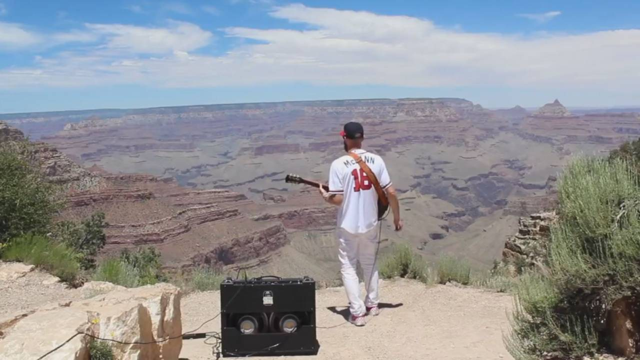 Guitar Player Plays The Star Spangled Banner In The Grand Canyon